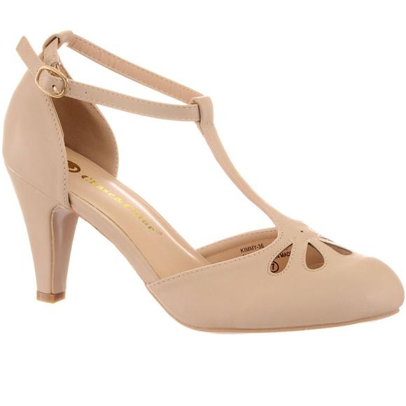 9f611843c43 NEW Vintage Pinup T-Strap Heels Pumps Nude Boutique